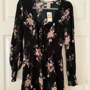 NWT American rag black floral dress size S